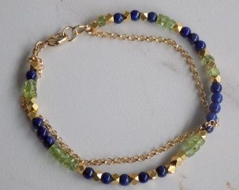 Chain Reaction-Delicate double strand bracelet with 4mm lapis lazuli, peridot, and 22kt gold plated nuggets. Boho bracelet