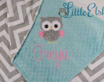 Minky Baby Blanket, Personalized Baby Blanket, Personalized Name Blanket, Owl Blanket, Baby Blanket, Choose Your Colors, Choose Your Size.