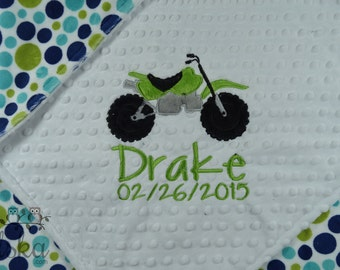 Mindy Baby Blanket, Personalized Baby Blanket, Personalized Name Blanket, Dirt Bike Blanket, Choose Your Colors, Choose Your Size.