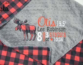 Personalized Baby Blanket, Minky Blanket, Personalized Birth Stats Blanket, Moose Applique Blanket, Choose your colors, Choose your size.