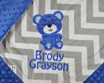 personalized blanket, minky blanket, personalized name blanket, name and bear blanket, choose your colors, choose your size