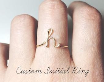 Custom Initial Ring Etsy