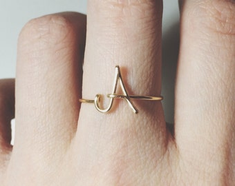 Custom Initial ring letter ring/gold/silver/knuckle ring midi ring/stack ring/wire ring/personalized ring/wedding gift ideas/bridesmaid gift