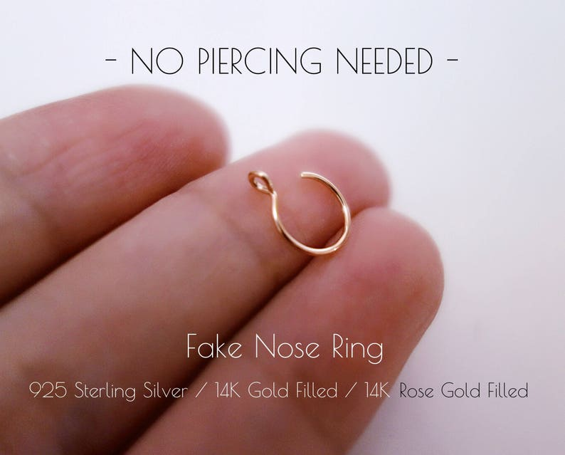 Fake Nose Ring Faux Gold Filled Nose Rings Fake Body Jewelry No Piercing Needed Hoops Body Jewelry Handmade Products