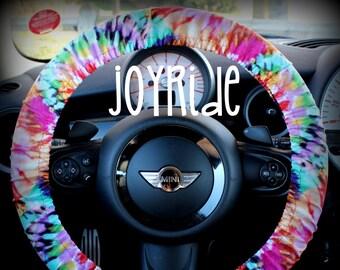 Steering Wheel Cover Tye Dye Rainbow- Cute Car Accessories Hippie Heated Gift for Girls Tie Dye Bohemian Keychain Christmas Favorite Rose