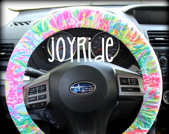 Steering Wheel Cover Lilly Pulitzer Multi Fan Sea Pants Fabric Fully lined with Grip Tight Designer Car Accessories Coral For Girls Woman