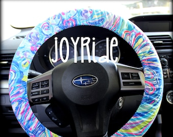 Steering Wheel Cover Lilly Pulitzer Multi Gillty Pleasure Fabric Fully lined with Grip Tight Designer Car Accessories Coral For Girls Woman