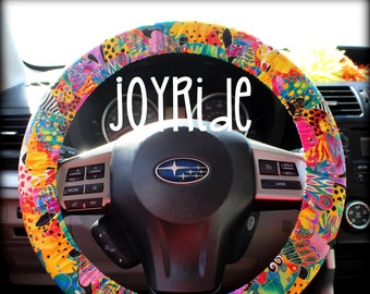 Laurel Burch Mystical Jungle Steering Wheel Cover Car Accessories Hippie Tie Dye Bohemian Matching Keychain Wristlet