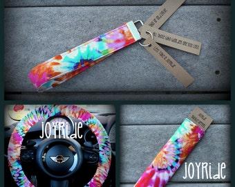 Tye Dye Steering Wheel Cover - Seatbelt Cover - Keychain Set in Tye Dye