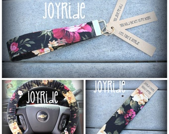 Steering Wheel Cover - Seatbelt Cover - Keychain Set in Black Floral
