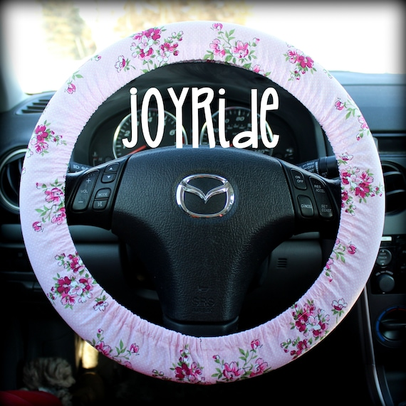 Steering Wheel Cover Burgundy Rose and Pink Flowers Watercolor Sketch Car  Accessories for Women Granny Chic Vintage Floral
