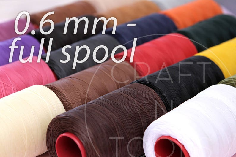RITZA25 Waxed Thread 0 6mm FULL SPOOL 1000m in 20 Colours/Wax Polyester  Thread/Saddler Thread/Waxed Sewing Thread/Tiger Thread/Saddle Sewing