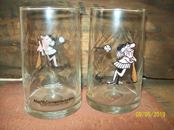 Vintage Arby/'s Glasses BC Ice age Collectors series 1981 Set of 2 Glasses