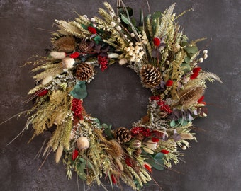 Dried Flower Wreath, Festive Natural Design. A handcrafted winter wreath, a natural Christmas decoration to keep or gift.
