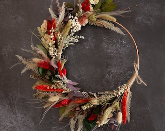 Dried Flower Wreath.  A metallic hoop hand decorated with a selection of dried flowers. A festive and natural design.