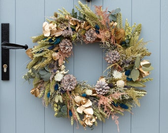 Dried Flower Wreath. Festive Christmas Winter Design. Handmade by Florence and Flowers