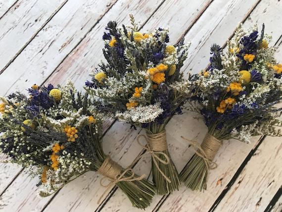 Bespoke Dried Flower Wedding Bouquet Bride Bridesmaid Rustic Etsy