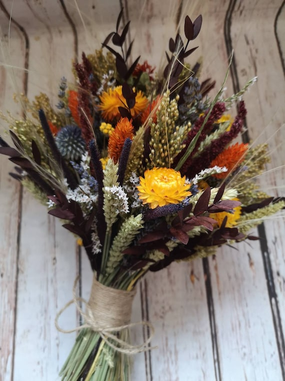 Dried Flower Bouquet Autumn Country Woodland Wedding Flowers Etsy