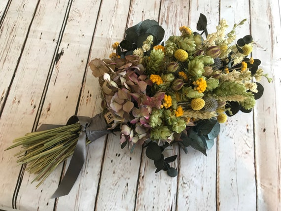 Dried Flower Bouquet By Florence And Flowers Wedding Flowers For Bride Or Bridesmaid Hops Hydrangea Lavender Rustic Country Charm
