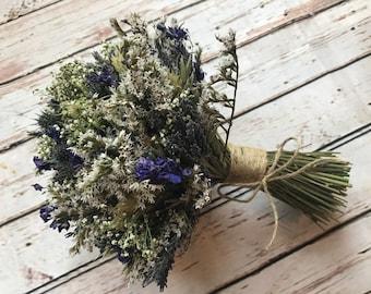 Thistle Wedding Bouquet.  Bespoke Dried Flowers, everlasting, wedding.