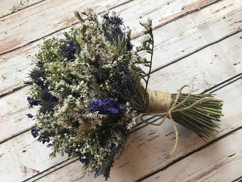 Thistle Wedding Bouquet Bespoke Dried Flowers Everlasting Wedding