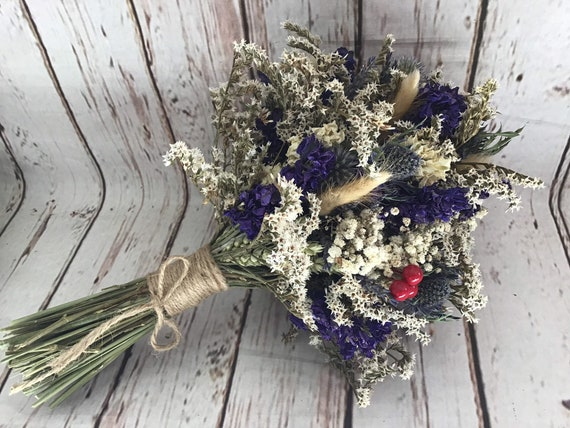 Dried Flower Bouquet Winter Wedding Christmas Bride Etsy