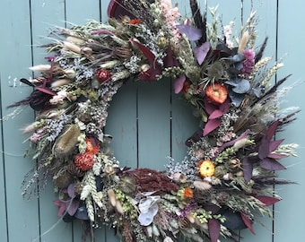 Dried Wreath Making Kit with Natural Flowers. DIY Autumnal Door Wreath. Contains instructions, moss, dried flowers, everything you need (#B)