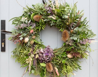 Autumn Wreath Kit. Make Your Own Fresh Foliage Autumnal Door Wreath With Dried Flowers and Everything You Need Included. (#F)