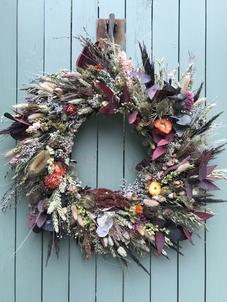 Wreath Making Kit with Dried Flowers. Autumnal Door Wreath image 0