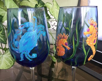 Crab & Sea Horse Set (2) Wine Glasses