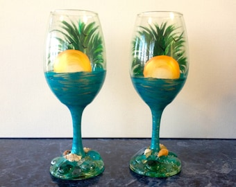 Hand Painted & Embellished Palm Tree and Sunset Wine Glasses