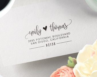 Return Address Stamp Calligraphy Personalized Wedding Invitation Heart Stationery RSVP Save The Date