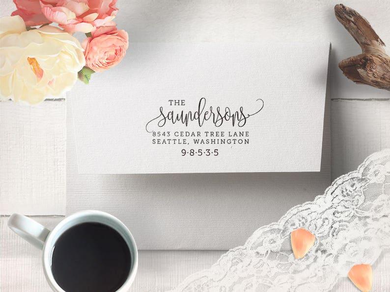 Wedding Stamp Return Address Stamp Calligraphy Address Stamp Personalized Address Stamp Family Address Stamp Self Inking Address Stamp