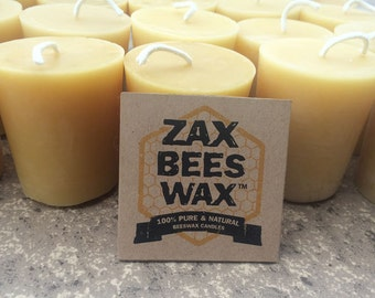 100% Pure & Natural Beeswax Votive Candles   Bulk 20 Pack