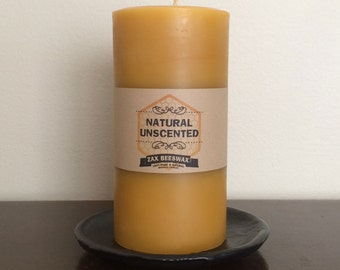 100% Pure & Natural Beeswax Pillar Candle | 3x6 Smooth