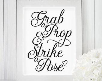 Grab a Prop & Strike a Pose Printable, Wedding, Bridal Shower, Party, Birthday