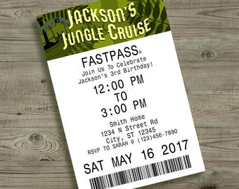 Jungle Cruise FASTPASS Birthday Invitation, First Birthday, Disneyland, Walt Disney World