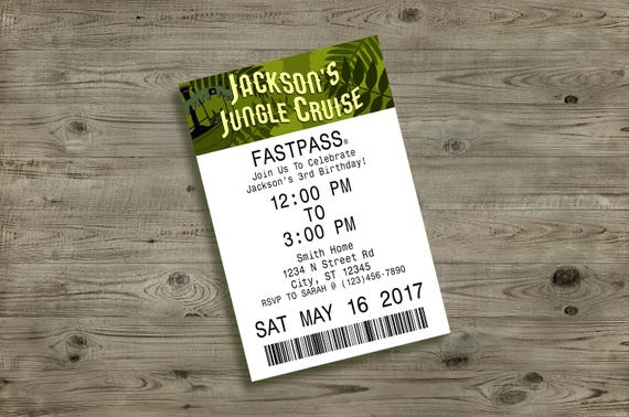 Jungle Cruise FASTPASS Birthday Invitation First Disneyland Walt Disney World