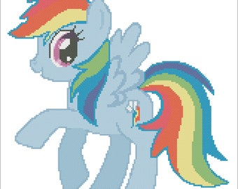 Rainbow Dash Counted Cross Stitch Chart Pattern  - Pattern Only (PDF DOWNLOAD)