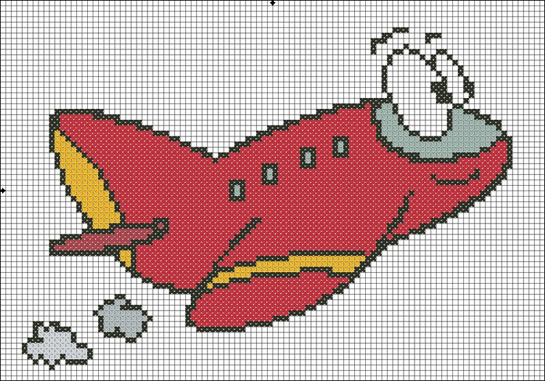 PDF DOWNLOAD Pattern Only Kid Airplane Counted Cross Stitch Chart Pattern