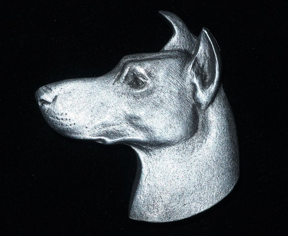 Doberman Dog Brooch or Pin Fashion Jewellery Silver Plated Stud Back with Tail