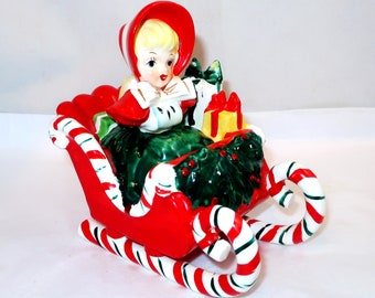 LEFTON SHOPPING GIRL in Candy Cane Sleigh Christmas Figurine Vintage Ceramic 1956 Full of Gifts Holly Berry Centerpiece Japan Collector Gift
