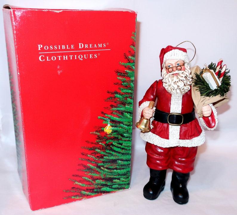 eb63966b6a2ba Vintage 1993 POSSIBLE DREAMS SANTA Claus w  Bell Candy Cane