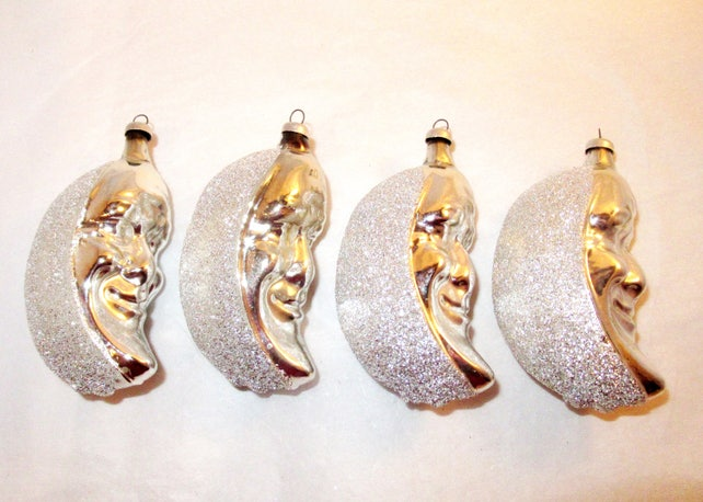 Vintage Silvered MERCURY CRESCENT MOON Face Blown Glass Christmas German Ornaments
