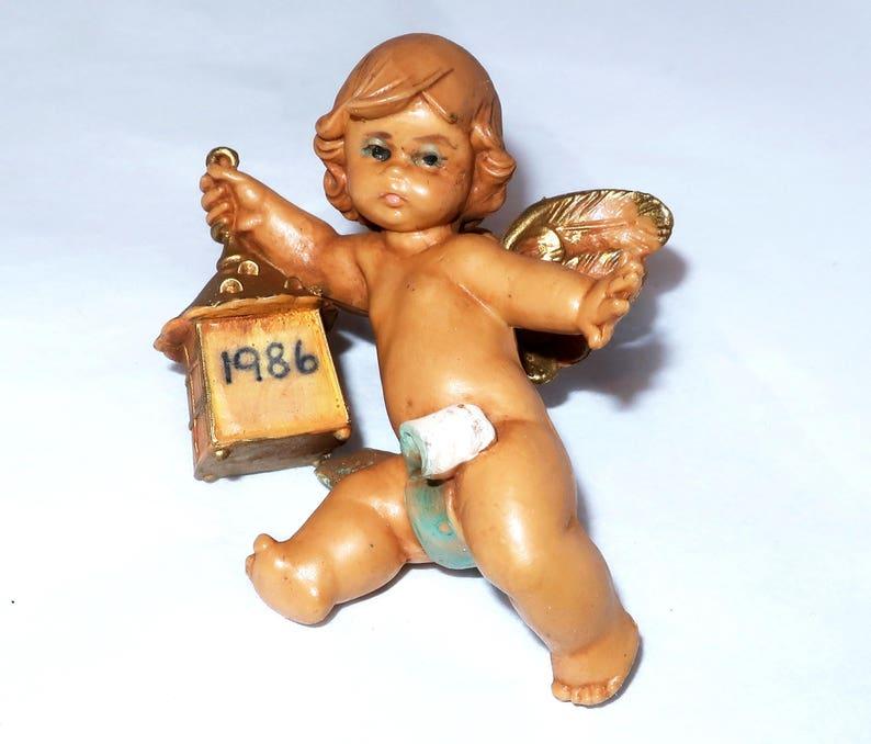 "Ornament Fontanini Roman Italy Angel Cherub w// Baby Jesus 2/"" Nativity Figurine"