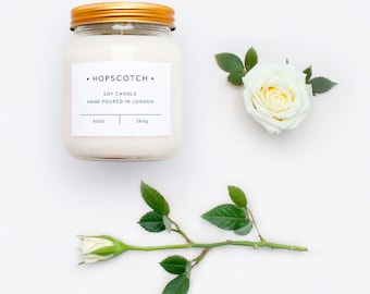 Rose Scented Candle — Hopscotch Candle — Home Decor Soy Candle — Perfect Gift for Her, Wedding Gift, Gift for Mum or Thank You Gift