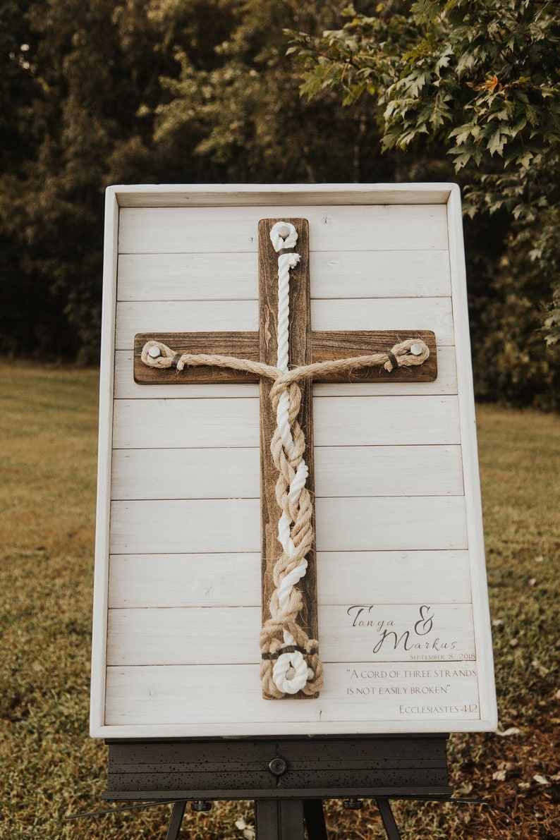 Texas Sized Framed 3 Cord Wooden Rustic Cross Unity image 0