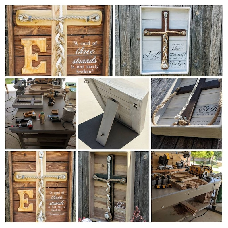Modern Rustique Framed Unity Wooden Rustic Cross Alternative Wedding Unity Idea Unity Wedding Ceremony A Cord Of 3 Strands Unity Cross