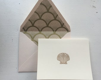 Scallop Shell Stationery Set - Thank You Notes - Thank You Gift - Thank You Cards Set - Stationary Set - Scallop Shells - Nautical Cards