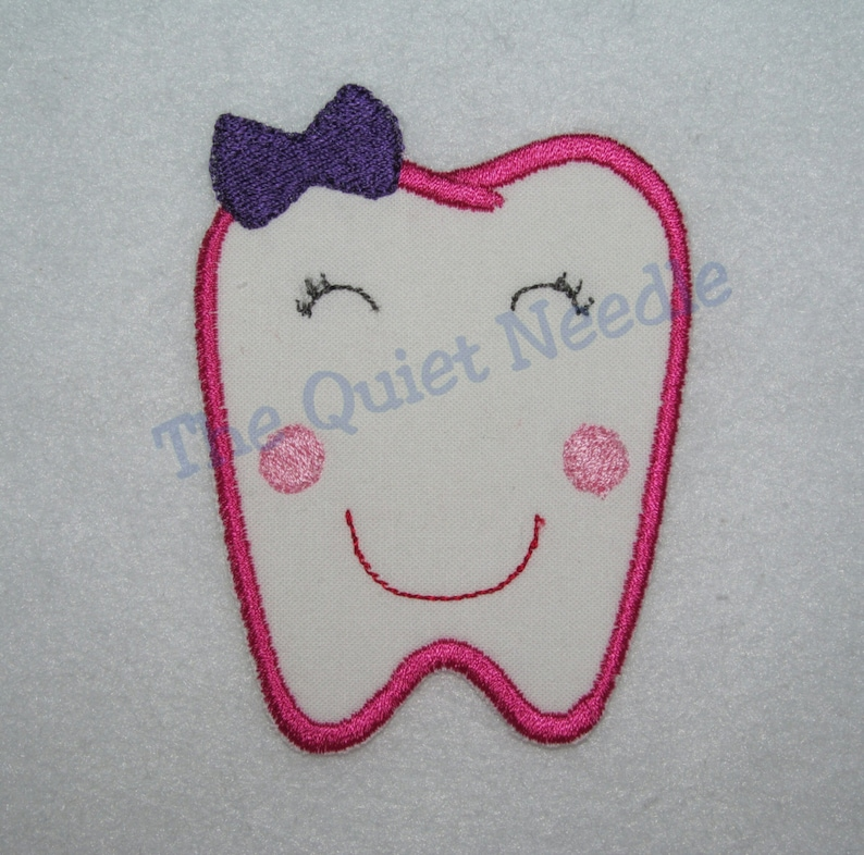 Girls Tooth Iron On Sew On Available  Embroidered Applique image 0
